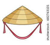 asian conical hat icon. cartoon ... | Shutterstock .eps vector #682763101