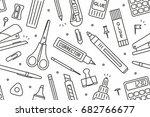 school supplies pattern | Shutterstock .eps vector #682766677