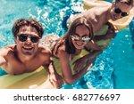 happy attractive young friends... | Shutterstock . vector #682776697