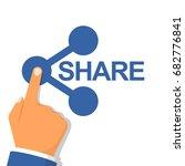 hand pressing sharing button.... | Shutterstock .eps vector #682776841