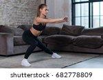beautiful fit girl doing home...   Shutterstock . vector #682778809