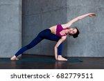 slim caucasian girl standing in ... | Shutterstock . vector #682779511