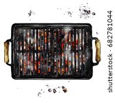 charcoal grill. watercolor... | Shutterstock . vector #682781044