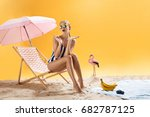 beautiful girl with colourful... | Shutterstock . vector #682787125