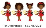 vector cute little african... | Shutterstock .eps vector #682787221