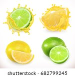 lemon and lime juice. fresh... | Shutterstock .eps vector #682799245