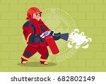 fireman hold extinguisher... | Shutterstock .eps vector #682802149