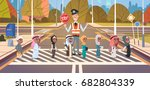 policeman guard helping group...   Shutterstock .eps vector #682804339