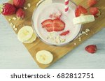 banana smoothies with... | Shutterstock . vector #682812751