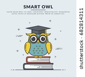 education banner with smart owl ... | Shutterstock .eps vector #682814311