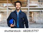 engineer portrait in a site... | Shutterstock . vector #682815757