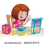 girl eating cereal | Shutterstock .eps vector #682819471
