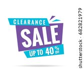 clearance sale blue purple 40... | Shutterstock .eps vector #682821979