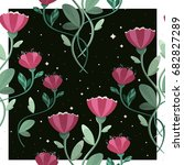 seamless pattern with spring... | Shutterstock .eps vector #682827289