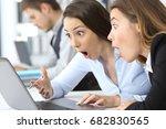 two surprised businesswomen...   Shutterstock . vector #682830565