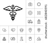thin line caduceus icon on... | Shutterstock .eps vector #682840591