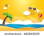 summer time vector banner... | Shutterstock .eps vector #682843039