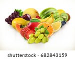 grapes and juicy fruits  3d... | Shutterstock .eps vector #682843159