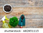 gardening tools. shovel on... | Shutterstock . vector #682851115