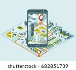 city isometric plan with road... | Shutterstock .eps vector #682851739