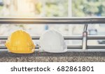 white  yellow hard safety... | Shutterstock . vector #682861801