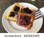 waffle pasty with variety fruit ...   Shutterstock . vector #682865485