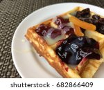 waffle pasty with variety fruit ...   Shutterstock . vector #682866409
