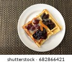 waffle pasty with variety fruit ...   Shutterstock . vector #682866421
