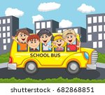 children go to school by bus... | Shutterstock . vector #682868851