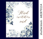 invitation with floral...   Shutterstock . vector #682870114