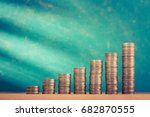 close up of coins stack on... | Shutterstock . vector #682870555