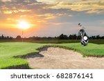 golf equipment and golf bag ... | Shutterstock . vector #682876141