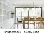 dining corner decorated with... | Shutterstock . vector #682876555