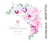 delicate floral crescent shaped ... | Shutterstock .eps vector #682879741