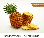 realistic pineapple with sliced ... | Shutterstock .eps vector #682884835