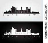 cape town skyline and landmarks ... | Shutterstock .eps vector #682887004