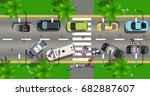 Top View Road Incident City...