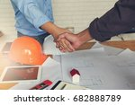 engineer and architect concept  ... | Shutterstock . vector #682888789