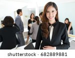 asian young business leader in... | Shutterstock . vector #682889881