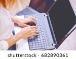 young women working on laptop... | Shutterstock . vector #682890361
