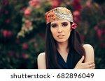 fashion woman wearing head...   Shutterstock . vector #682896049