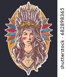 native american woman tattoo... | Shutterstock .eps vector #682898365