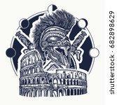 spartan helmet crossed swords ... | Shutterstock .eps vector #682898629