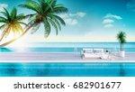 relaxing summer  sun loungers... | Shutterstock . vector #682901677
