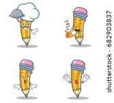 set of pencil character with... | Shutterstock .eps vector #682903837