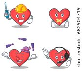 set of heart character with...   Shutterstock .eps vector #682904719