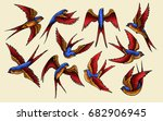 Stock vector vector illustration of swallow bird vintage tattoo set 682906945