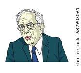 bernie sanders portrait cartoon ...   Shutterstock .eps vector #682908061