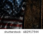 usa flag on a wood surface | Shutterstock . vector #682917544