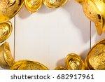 gold chinese ingot  yuan bao ...   Shutterstock . vector #682917961